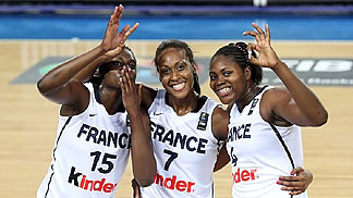 Jennifer Digbeu, Sandrine Gruda, Isabelle Yacoubou of France celebrating qualification to the London Olympics - 29/06/2012