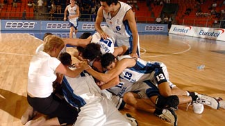Israeli players celebrating