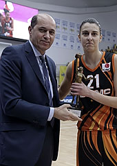 FIBA Europe President Turgay Demirel presents Alba Torrens with the 2014 FIBA Europe Women's Player of the Year Award