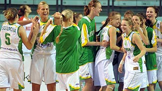 Lithuania celebrates their semi-final win over France.