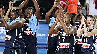 France celebrating their win over Canada in the Olympic Qualifying Tournament