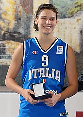 Ivan Bodrogvary presents the MVP award to Italys Cecilia Zandalasini