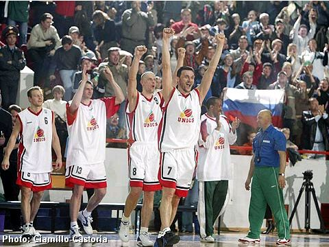 UNICS Kazan players celebrating