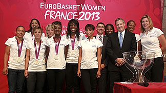 FIBA Europe President Olafur Rafnsson with the London 2012 silver medallists France at the EuroBasket Women 2013 draw in Paris