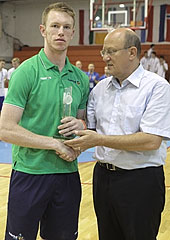 Ireland Captain Jack O'Mahoney receives the Fair Play Award on behalf of his team