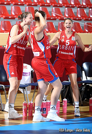 Serbia celebrate their opening win over the Slovak Republic