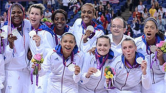 France celebrate silver at the womens basketball tournament - London 2012 Olympic Games
