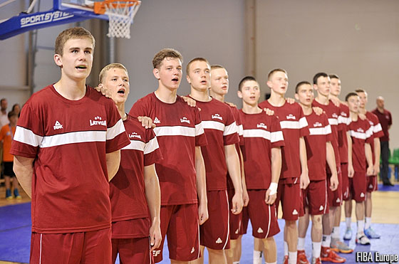 Latvia line up for the anthem