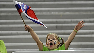 One of the younger Slovenia fans in Stozice Arena