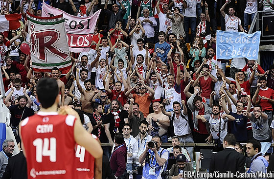 Reggio Emilia's fans celebrate their team's victory in the EuroChallenge final