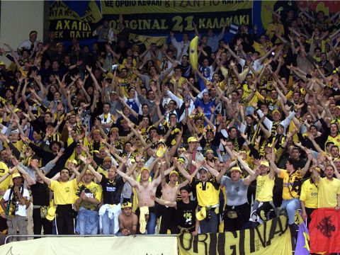 AEK Athens fans at the 2000 Saporta Cup Final in Lausanne, Switzerland