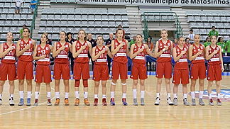Serbia stand to attention for their national anthem