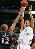 Dirk Nowitzki shooting over Tim Duncan