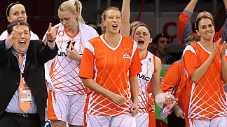 UMMC General Manager Maxim Ryabkov celebrating with the team after the win over Wisla