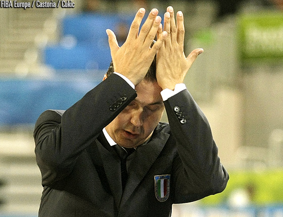 Italy head coach Simone Pianigiani in disbelieve about his team's performance against Ukraine