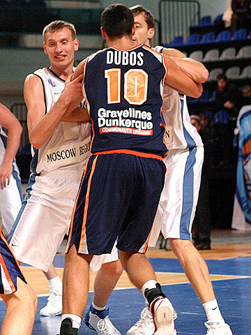 Alexander Fomin (left), Valeriy Dayneko (both Dynamo Moscow Region) and Fabien Dubos (BCM Gravelines Dunkerque)
