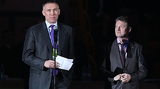 FIBA Europe Secretary General Kamil Novak and Andrey Kozitsyn, President of the UMMC Ekaterinburg Basketball Club, at the Final Eight Opening Ceremony