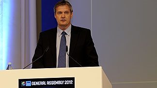 FIBA Europe President Olafur Rafnsson was guiding through the General Assembly in Ljubljana, Slovenia