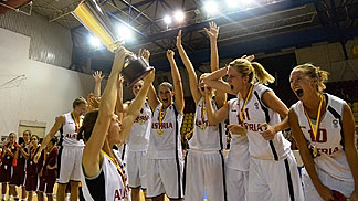 Austria celebrate their fourth title at the European Championship Of The Small Countries Women