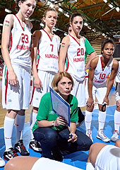 Hungary head coach Andrea Meszarosne Kovacs during a time-out