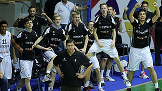 Germany's bench gets excited in the close win over Russia