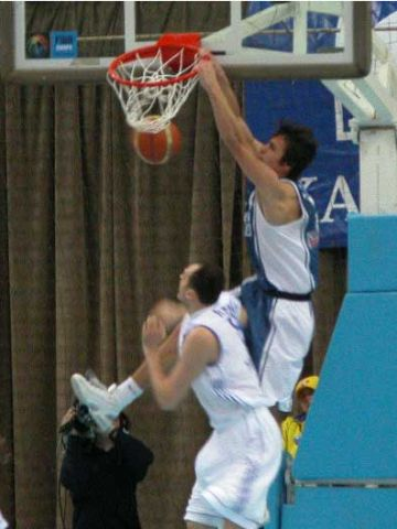 Kristjan Kangur is testing the basket with a huge slam-dunk