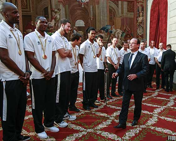 President Francois Hollande welcomes the French players and coaching staff in the Elyse Palace