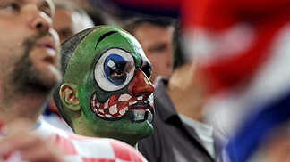 A Croatia fan at Stozice arena