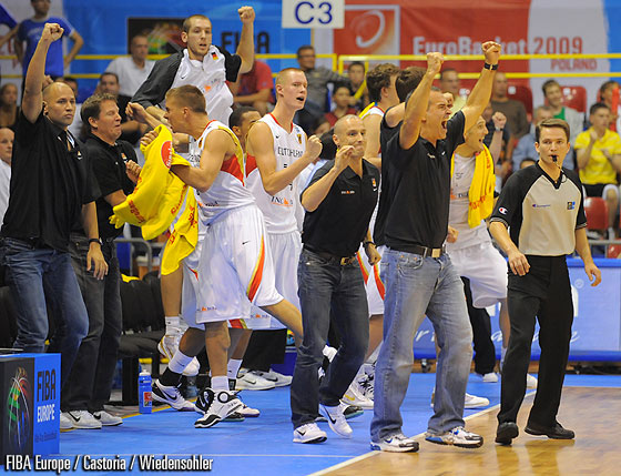 Head Coach Dirk Bauermann And Germany Celebrate