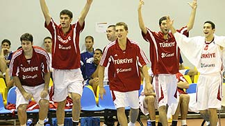 Turkey celebrates their win over Ukraine