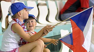 Young Czech fans cheer on their team