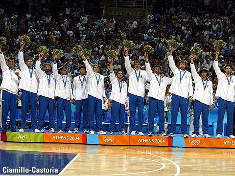 The Italian team during the winners' ceremony at the 2004 Olympics