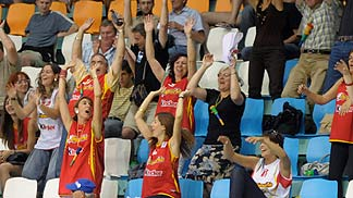 Spain fans at the 2008 U18 European Championship Women