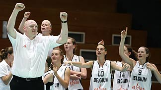 Daniel Goethals and his team celebrate the semi-final win against France
