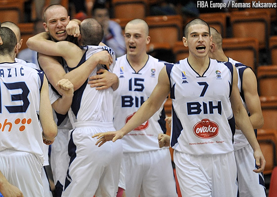 Bosnia and Herzegovina celebrate their first win at the U18 European Championship