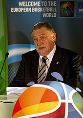FIBA Europe Acting President Cyriel Coomans speaking at the EuroBasket 2015 2nd Qualification Round Draw
