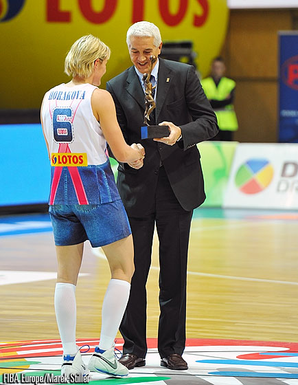 Hana Horakova receives the Player of the Year award from FIBA Europe Secretary General Nar Zanolin