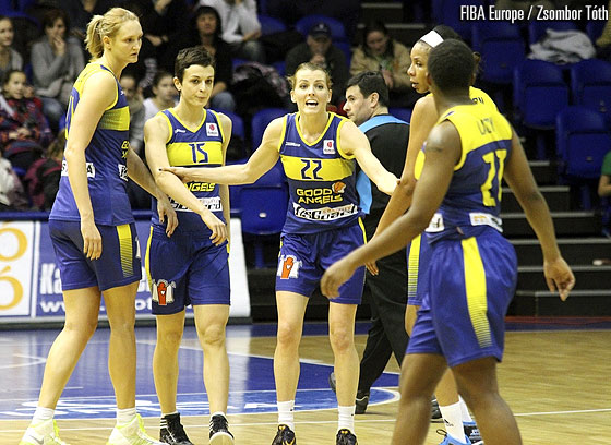 The players of Good Angels Kosice huddle together
