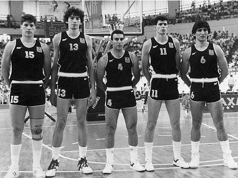 The Greek national team at the 1987 European Championship - from left - Fanis Christodolou, Panagiotis Fassoulas, Nik Galis, Anargiros Kambouris and Panagiotis Yannakis