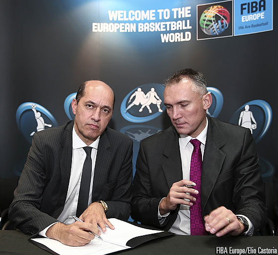 FIBA Europe President Turgay Demirel signing the hosting agreement for EuroBasket 2015