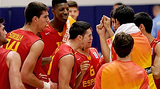 Spain celebrate their win over Bosnia and Herzegovina that sees them through to the quarter-finals