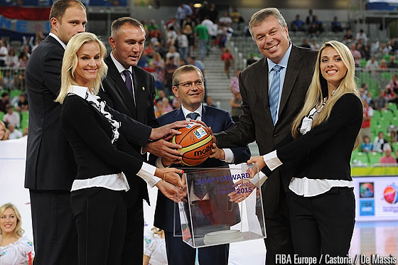 EuroBasket 2013 Ambassador Raso Nesterovic, FIBA Europe Secretary General Kamil Novak, Vice Prime Minister of Ukraine Oleksandr Vilkul and UBF President Oleksandr Volkov at the official passing on from EuroBasket 2013 to 2015
