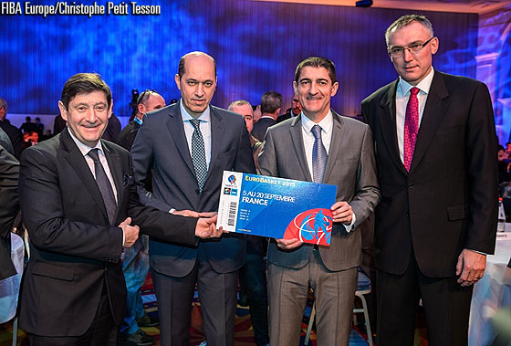 Patrick Kanner, Minister of Urban Affairs, Youth and Sports, Turgay Demirel, FIBA Europe President, Jean-Pierre Siutat, FFBB President and Kamil Novak, FIBA Europe Secretary General at the EuroBasket 2015 Draw