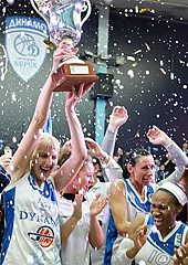 Dynamo Kursk with the 2012 EuroCup Women trophy