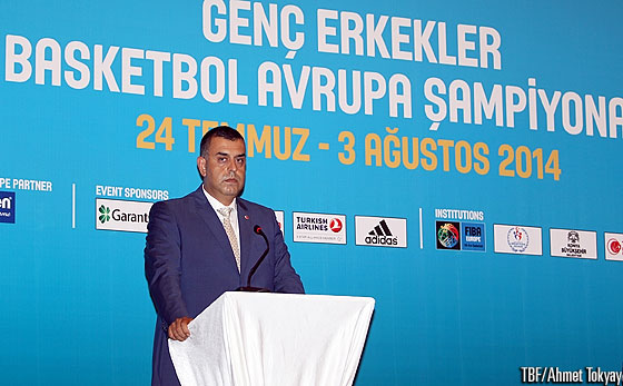 TBF Board Member Alper Arikoglu held the opening speech at the opening ceremony of the U18 European Championship