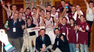 the Latvian team celebrating their victory