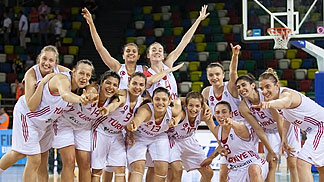 Turkey celebrate their qualification for the semi-finals