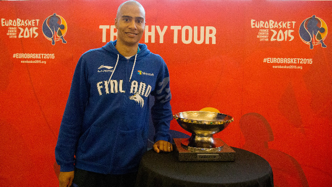Finland captain Shawn Huff with the EuroBasket 2015 Trophy