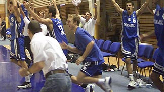Israeli players celebrating after beating Serbia & Montenegro in the Quarter-Final