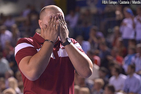 Latvia head coach Arturs Stalbergs couldn't believe his team's gigantic achievement
